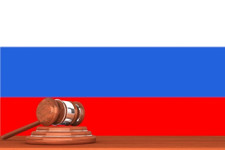 Wooden Justice Gavel with Flag Of Russia