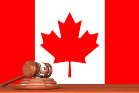 Wooden Justice Gavel with Flag Of Canada photo