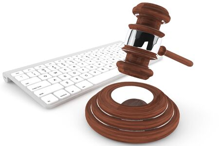 secure backup: Justice Gavel and keyboard on a white background
