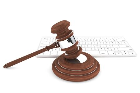 vulnerability: Justice Gavel and keyboard on a white background