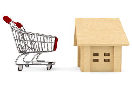 Shopping Cart with Wooden House on a white background Stock Photo - 14895915