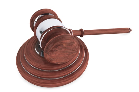 mallet: Judge gavel and sound block on a white background