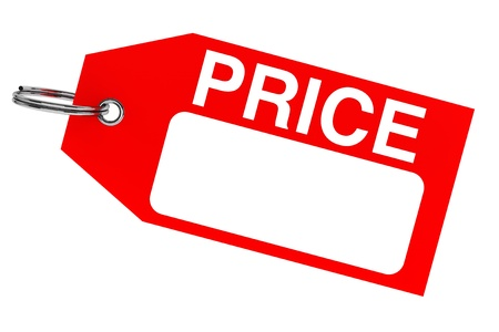 price cut: Red price tag with blank space on the white background