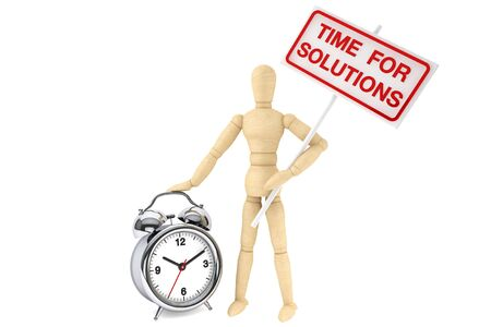 Time For Solutions Concept  Wooden Dummy with banner and alarm clock on the white background photo