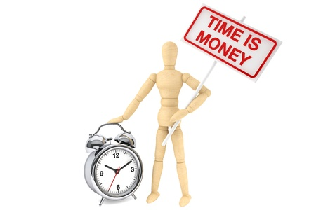 Time is Money Concept  Wooden Dummy with banner and alarm clock on the white background
