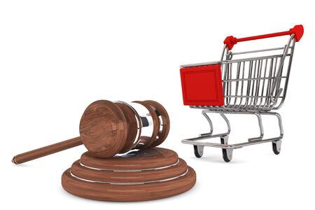 auctioning: Justice Gavel with Shopping Cart on a white background