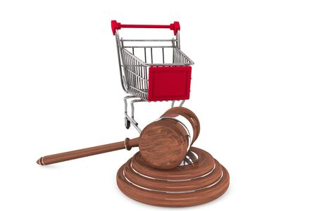 Justice Gavel with Shopping Cart on a white background Stock Photo - 15065543