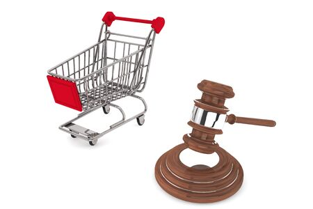 Justice Gavel with Shopping Cart on a white background Stock Photo - 15065551