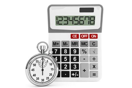 estimate: Calculator and StopWatch on a white background