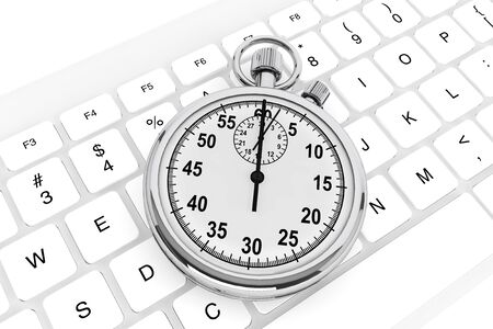 White computer keyboard with silver modern stopwatch photo