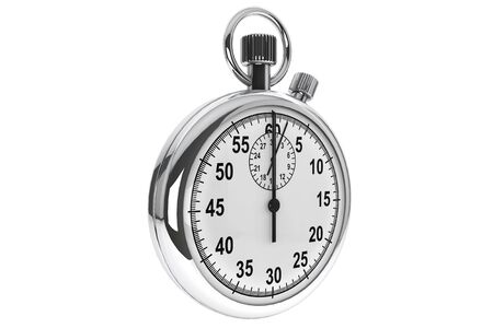 interval: Silver modern Stopwatch on a white background