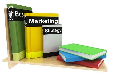 白い背景の上の本棚とのビジネス関係の書籍 写真素材