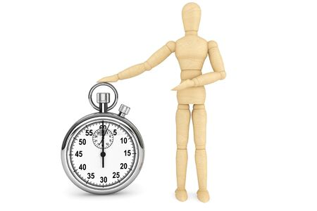 elapsed: StopWatch with wooden dummy on a white background