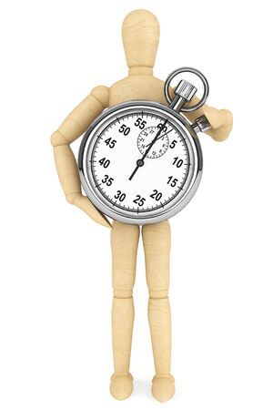 big timer: StopWatch with wooden dummy on a white background