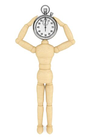 Think about time concept. StopWatch with wooden dummy on a white background photo