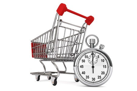 Fast Buying concept. Silver modern Stopwatch with Shopping Cart on a white background  photo