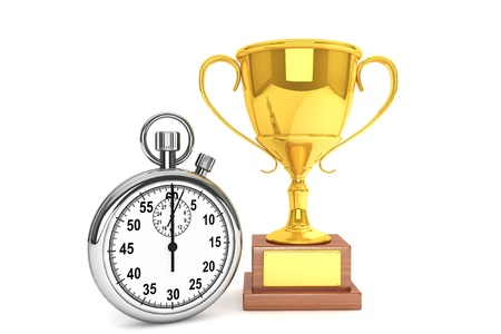 Silver modern Stopwatch with gold trophy on a white background  photo