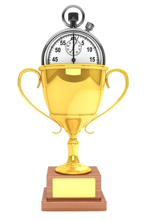 Silver modern Stopwatch with gold trophy on a white background Stock Photo - 15158534