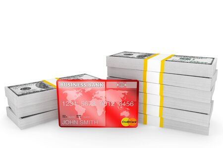 Banking concept. One hundred dollars and Credit Card on a white background Stock Photo - 15396666