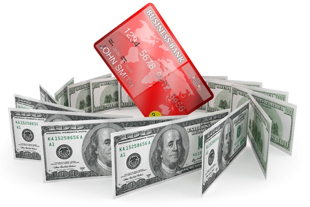 Banking concept. One hundred dollars and Credit Card on a white background Stock Photo - 15396871