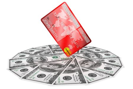 Banking concept. One hundred dollars and Credit Card on a white background Stock Photo - 15396812
