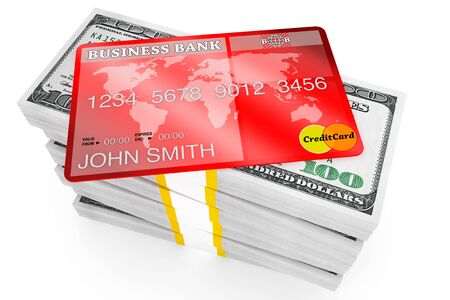 Banking concept. One hundred dollars and Credit Card on a white background Stock Photo - 15396725