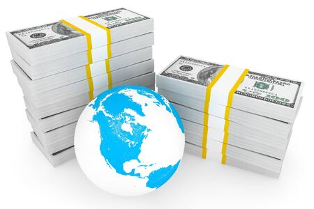 one hundred: Global investment concept. One hundred dollars and Globe on a white background