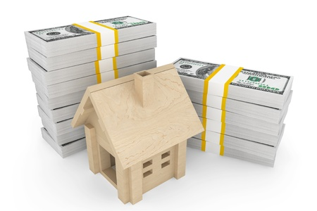 Real estate business concept. Dollars banknotes with wooden House on a white background photo