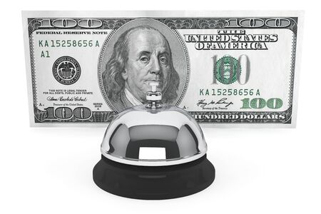 Service concept. One hundred dollars and Service Bell on a white background  photo
