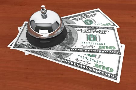 purchasing power: Service concept. One hundred dollars and Service Bell on a wooden table  Stock Photo