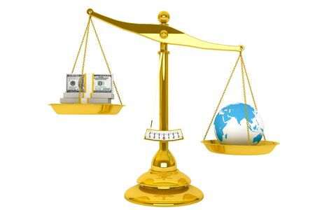 Safe the Earth. Ecology concept. Scale, Money and Globe on a white background  photo