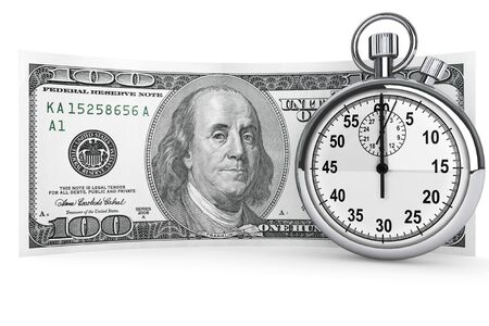 one hundred: Time is money concept. One hundred dollars and Stopwatch on a white background