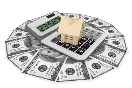 Real estate business concept. Dollars banknotes with wooden House and calculator on a white background photo