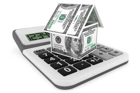 Real estate business concept. Dollars banknotes as House and calculator on a white background photo