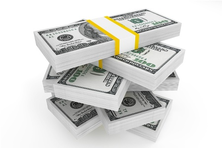 one hundred: One hundred dollars stack on a white background  Stock Photo