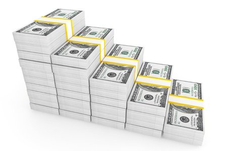 debt collection: One hundred dollars stack on a white background  Stock Photo