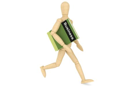 Wooden Dummy with book on a white background  photo