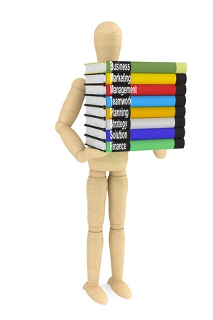 Wooden Dummy with books on a white background  Stock Photo - 15396572