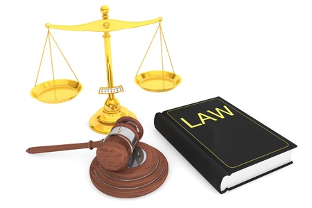 Justice gold scale, Law Book and wooden gavel on a white background  photo