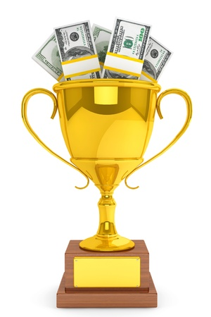 Business concept. Dollars banknotes and Golden Trophy Cup on a white background