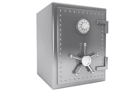combination safe: Safety concept. Steel Bank safe on a white background.