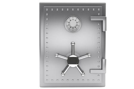 安全コンセプト。鋼銀行白い背景の上に安全です。 写真素材 - 15725072