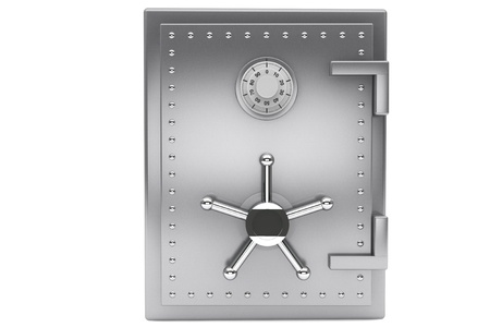 combination lock: Safety concept. Steel Bank safe on a white background.
