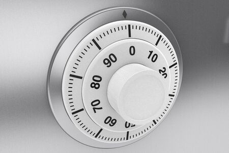 Safety concept. Bank Safe combination lock closeup photo