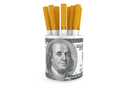 Expensive habit and No Smoking concept. Dollars banknotes with cigarette on a white background photo