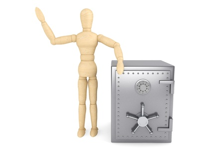 Banking concept. Wooden Dummy and bank safe on a white background Stock Photo - 15725041