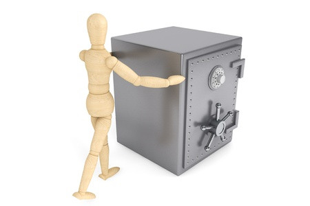 Banking concept. Wooden Dummy and bank safe on a white background Stock Photo - 15725048