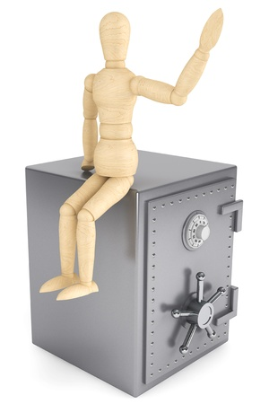 Banking concept. Wooden Dummy and bank safe on a white background Stock Photo - 15725058
