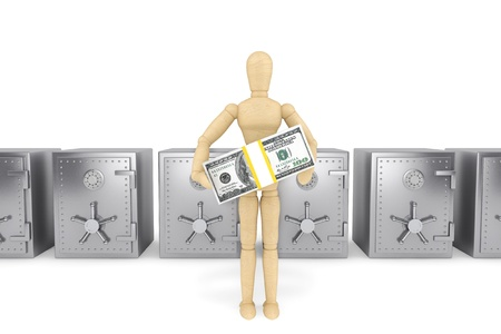 Banking concept. Wooden Dummy and bank safe on a white background Stock Photo - 15725052