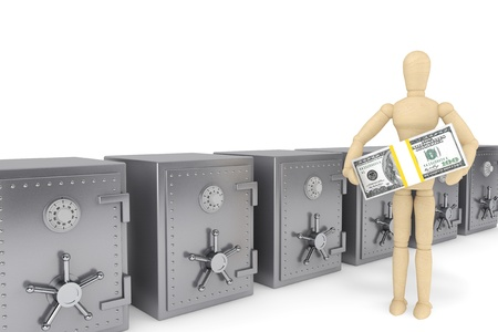 Banking concept. Wooden Dummy and bank safe on a white background photo